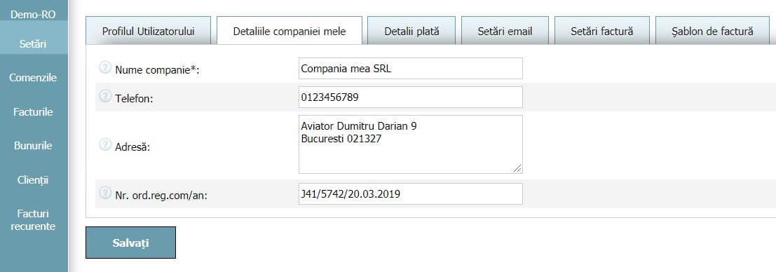 Profilul Utilizatorului - Detaliile companiei mele