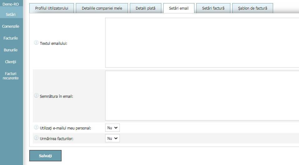 Profilul Utilizatorului - Setări email