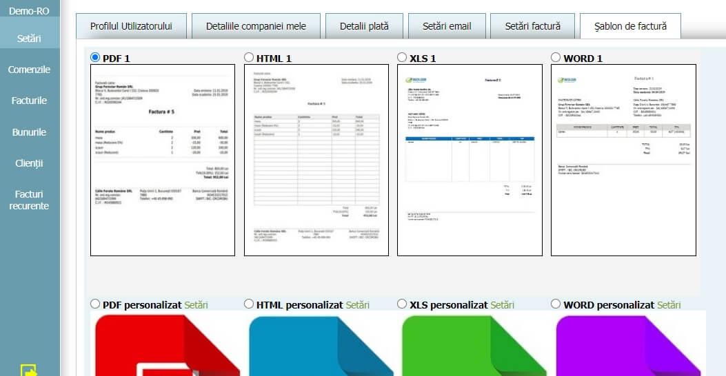 Profilul Utilizatorului - Şablon de factură