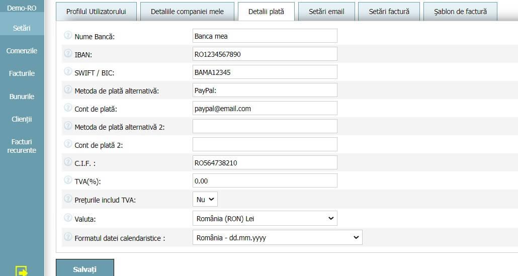 Profilul Utilizatorului - Detalii plată