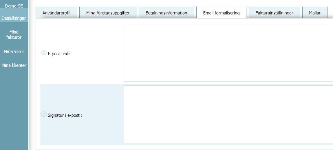 Användarprofil - E-postinställningar