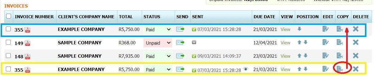how to copy invoice