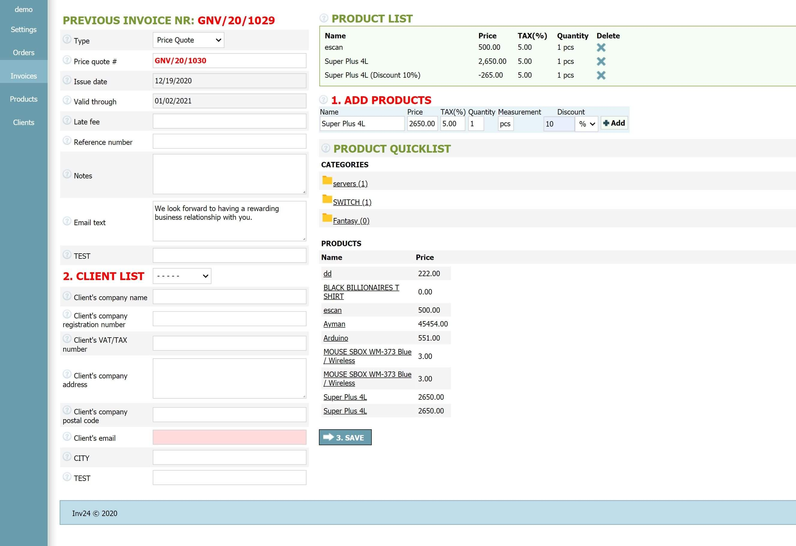 Online Quoting Software Inv24